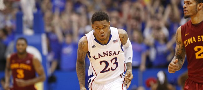 Kansas guard Ben McLemore celebrates after drilling a three to start overtime against Iowa State on Wednesday, Jan. 9, 2013 at Allen Fieldhouse.
