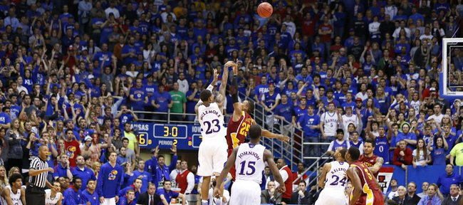 The fieldhouse watches as Kansas guard Ben McLemore puts up the game-tying three over Iowa State guard Tyrus McGee with three seconds left in regulation on Wednesday, Jan. 9, 2013. McLemore's three sent the game into overtime where the Jayhawks defeated the Cyclones 97-89.