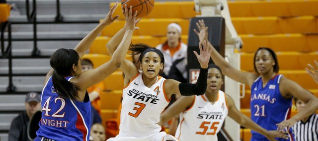 Kansas' Natalie Knight (42) passes the ball around Oklahoma State's Tiffany Bias (3) during an NCAA college basketball game at Gallagher-Iba Arena in Stillwater, Okla., Tuesday, Jan. 8, 2013. (AP Photo/The Oklahoman, Bryan Terry)