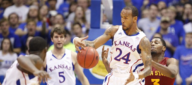Kansas guard Travis Releford comes away with a steal from Iowa State forward Melvin Ejim during the first half on Wednesday, Jan. 9, 2013 at Allen Fieldhouse.