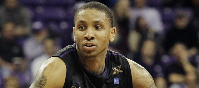 Kansas State guard Rodney McGruder (22) looks for space during the second half of an NCAA college basketball game against TCU, Wednesday, Jan. 16, 2013, in Fort Worth, Texas.
