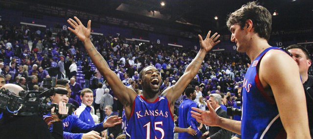 Kansas guard Elijah Johnson waves goodbye to the Bramlage Coliseum crowd after the Jayhawks&#39; 59-55 win over Kansas State on Tuesday, Jan. 22, 2013.