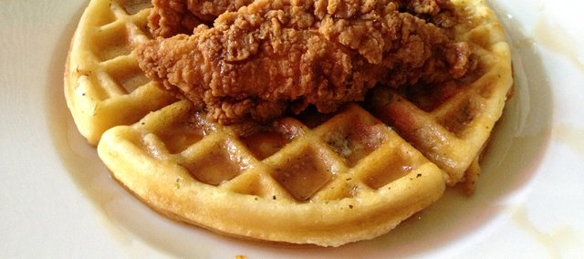 Chicken and Waffles, a Tuesday special at the Burger Stand, 803 Massachusetts St.