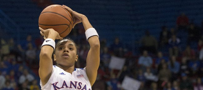 Kansas guard Angel Goodrich (3) lines up a three point attempt during Kansas' game against Baylor, Sunday, Jan. 13, 2013 at Allen Fieldhouse.