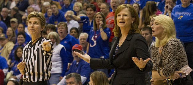 Kansas coach Bonnie Henrickson reacts to an official's call during Kansas' game against Oklahoma State, Saturday, Jan. 26, 2013 at Allen Fieldhouse.