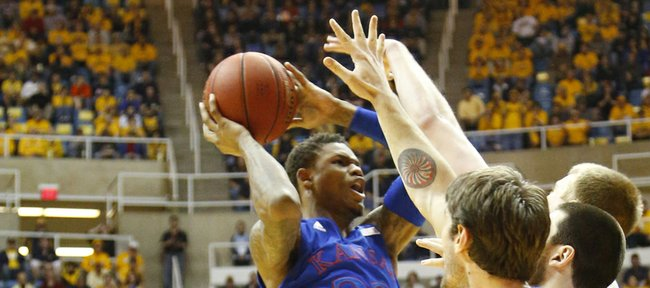 Ben McLemore leaps for  basket in the Jayhawks 61-56 win against the Mountaineers Monday night at West Virginia University.
