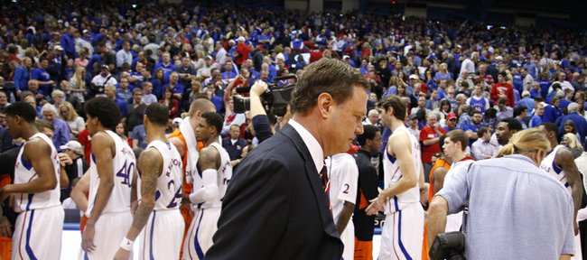 Kansas head coach Bill Self walks off the court following the Jayhawks' 85-80 loss to Oklahoma State on Saturday, Feb. 2, 2013 at Allen Fieldhouse.