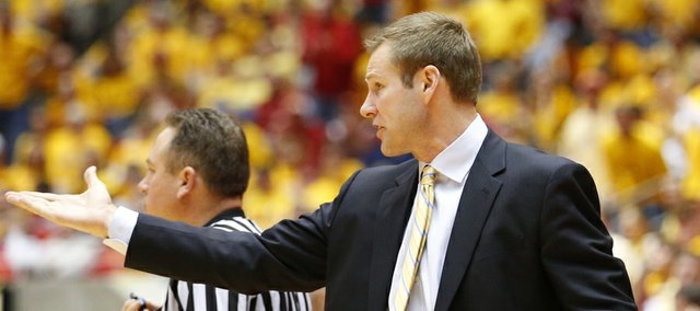 Iowa State head coach Fred Hoiberg pleads with an official during the second half on Monday, Feb. 25, 2013 at Hilton Coliseum in Ames, Iowa.