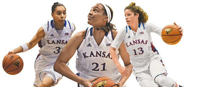 Kansas seniors, from left, Angel Goodrich, Carolyn Davis and Monica Engelman will play their final regular-season home game tonight, against TCU at 7 p.m. in Allen Fieldhouse.