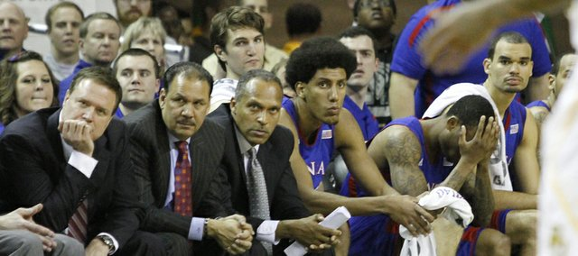 The KU bench watches the final seconds of KU&#39;s 81-58 loss to the Baylor Bears Saturday in Waco.