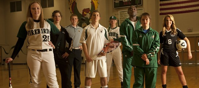 Free State High seniors, from left, Courtney Parker (softball), Emma Norwood (girls swimming), Alex Green (boys golf), Brandon Juracek (boys tennis), Lee McMahon (baseball), TJ Cobbs (boys track), Sarah Schaffer (girls track) and Rylee Fuerst (girls soccer) hope to lead the Firebirds to success this spring.