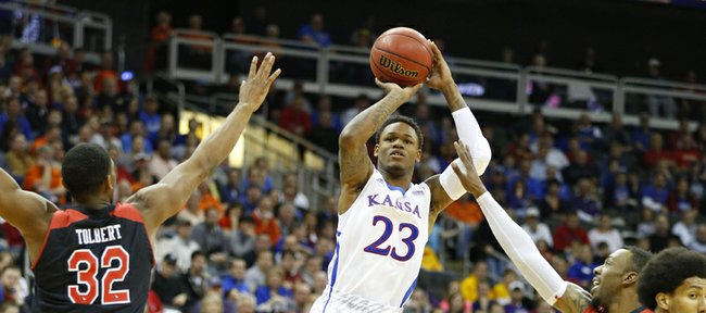 Kansas guard Ben McLemore puts up a three against Texas Tech during the first half of the second round of the Big 12 tournament on Thursday, March 14, 2013 at the Sprint Center in Kansas City, Missouri.