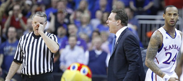 Kansas head coach Bill Self erupts at a game official after Ben McLemore was whistled for a technical during the first half of the semifinal round of the Big 12 tournament on Friday, March 15, 2013 at the Sprint Center in Kansas City, Missouri.
