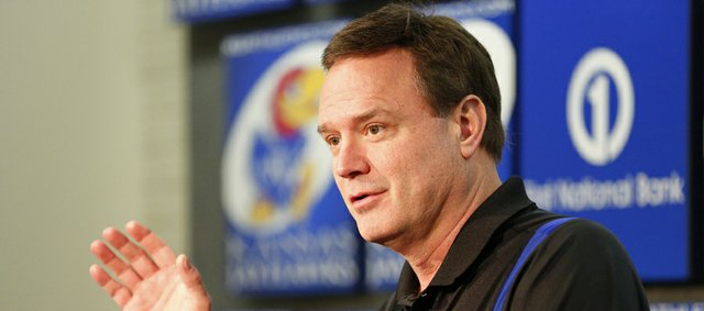 Kansas head coach Bill Self takes questions during a news conference following the NCAA selection show, Sunday, March 17, 2013 at Allen Fieldhouse.
