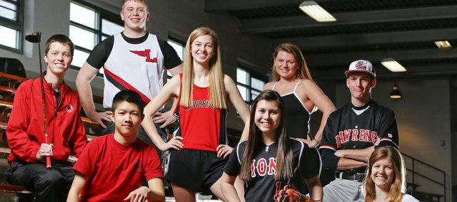 Lawrence High athletes, from left, senior Brett Van Blaricum (boys golf), in front, senior Tim Thongone (boys tennis), in back, senior Ryan Shackelford (boys track and field), senior Monica Howard (girls track and field), junior Marly Carmona (softball), senior Heather Cistola (girls swimming), senior C.J. Stuever (baseball) and senior Ella Magerl (girls soccer) hope to lead the Lions to successful spring seasons.