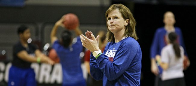 Kansas University women's basketball coach Bonnie Henrickson directs her team during practice Friday, March 22, 2013, in Boulder, Colo. The Jayhawks will play Colorado in an NCAA Tournament game approximately 5:40 p.m. today in Boulder.