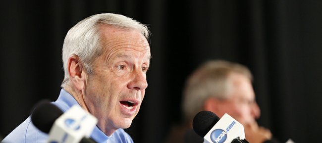 North Carolina head coach Roy Williams talks with media members about the Jayhawks' defense, Saturday, March 23, 2013 at the Sprint Center in Kansas City, Mo.