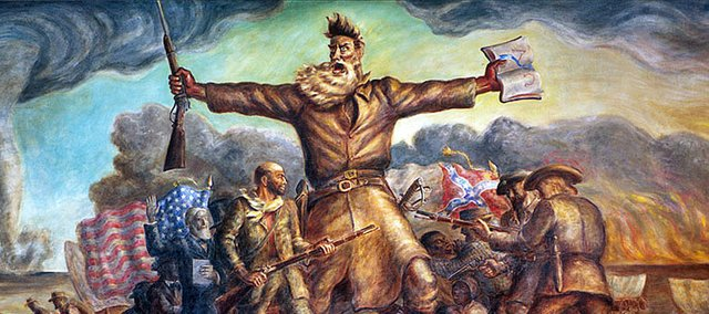 Abolitionist John Brown has been famously depicted in a mural done by Kansas artist John Steuart Curry in the State Capitol building in Topeka, completed in 1940. The mural portrays Brown almost as an Old Testament prophet with a Bible in one hand, a rifle in the other.