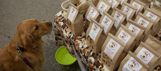 A dog looks over the variety of Good Dog! Biscuits & Treats at the Downtown Lawrence Farmers' Market on Saturday. The treats are made at the Lawrence Community Shelter.
