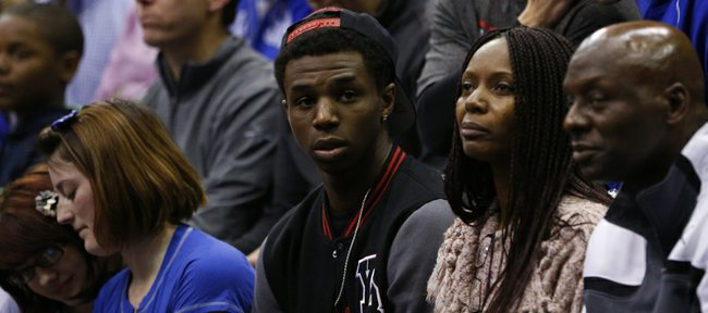 Kansas recruit Andrew Wiggins watches from behind the bench during the second half, Monday, March 4, 2013 at Allen Fieldhouse.