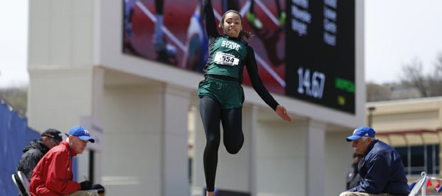 Free State's Alexa Harmon Thomas soars to the pit on her final attempt during the Girls Long Jump event of the Kansas Relays on Saturday, April 20, 2013 at Memorial Stadium. Nick Krug/Journal-World Photo