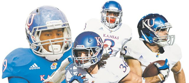 Kansas is loaded at running back, with the likes of, clockwise from upper left, James Sims, Tony Pierson, Brandon Bourbon and Taylor Cox (36).