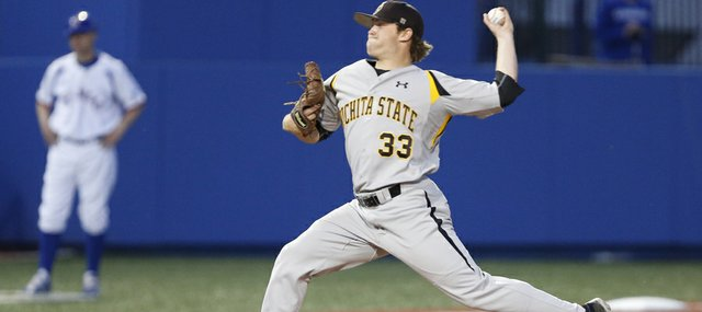 Wichita State pitcher and Lawrence High graduate Albert Minnis delivers during the ninth inning, Tuesday, April 30, 2013 at Hoglund Ballpark. Nick Krug/Journal-World Photo