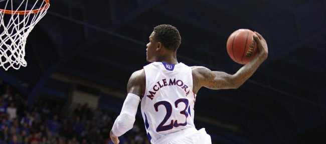 Kansas guard Ben McLemore finishes the game with a windmill dunk against San Jose State during the second half on Monday, Nov. 26, 2012 at Allen Fieldhouse.