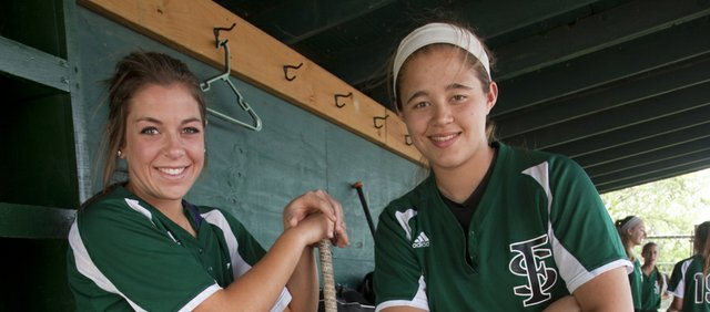 Free State softball players Emily Bermel, left, and Emily Byers and the rest of the Firebirds will open the state tournament Thursday against Derby.