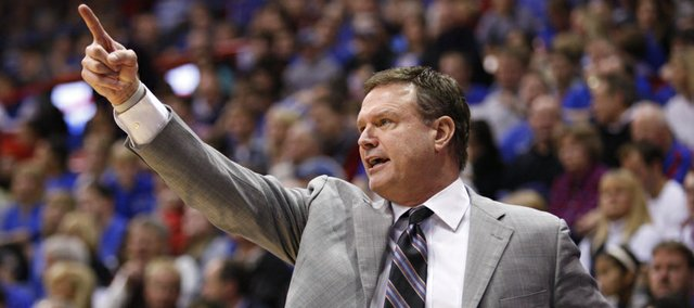 Kansas head coach Bill Self calls a play during the second half on Tuesday, Dec. 18, 2012 at Allen Fieldhouse.