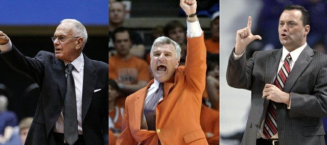 """New Kansas University assistant coach Jerrance Howard says he's been blessed to work with """"great coaches"""" such as Larry Brown, left at SMU, Bruce Weber, middle at Illinois, and Billy Gillispie, right, at Texas A&M and Kentucky."""