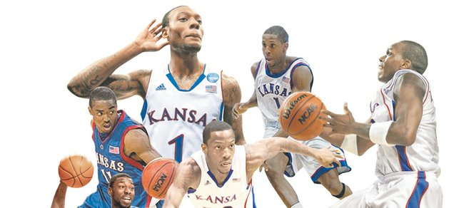 The top points guards in the Bill Self era at Kansas University, as chosen by the Journal-World/KUSports.com staff, are, clockwise from upper left: Naadir Tharpe, Jeff Hawkins, Russell Robinson, Sherron Collins, Elijah Johnson, Aaron MIles and, at center, Tyshawn Taylor.