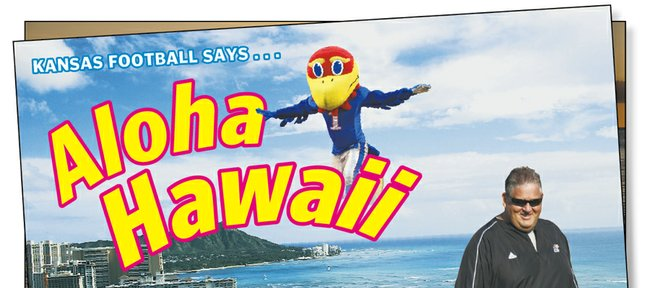 Kansas University coach Charlie Weis hopes his strong reputation in Hawaii, along with the Jayhawks' newly scheduled home-and-home series with the Warriors, will help KU football land recruits from the Islands.