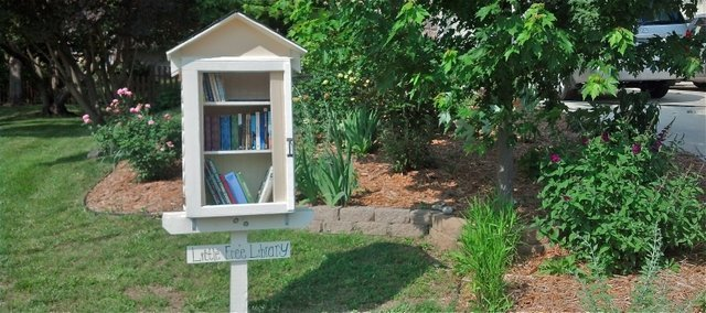 "Derrick Abromeit's ""Little Free Library"" sits on his lawn, encouraging neighbors to take a book and read."