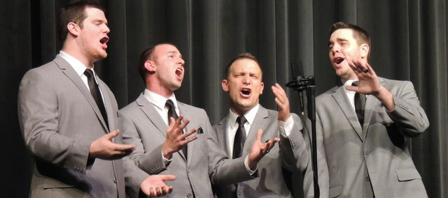 Zane Sutton, from left, Caleb Fouse, Lawrence resident Shaun Whisler and Aaron Walker, members of the BoomTown Quartet, perform during a Central States District Barbershop Quartet Convention. BoomTown has qualified for the 75th Annual International Barbershop Quartet Contest, which is the first week of July in Toronto.