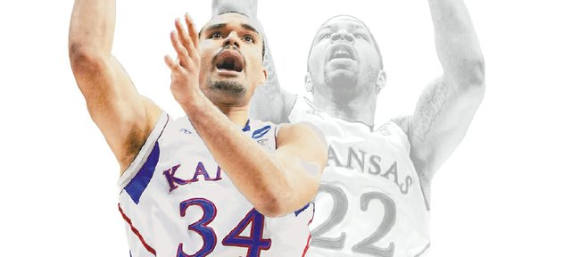 Kansas University sophomore Perry Ellis (34) says he's been watching tape of former KU star Marcus Morris in an effort to expand his game.