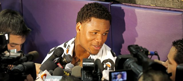 Phoenix Suns draft prospect Ben McLemore, of Kansas, speaks with the media, Wednesday, June 5, 2013, in Phoenix.