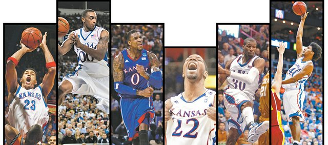 According to the Journal-World and KUSports.com staffs, the top power forwards in the Bill Self era are, from left, Wayne Simien, Darrell Arthur, Thomas Robinson, Marcus Morris, Julian Wright and Kevin Young.