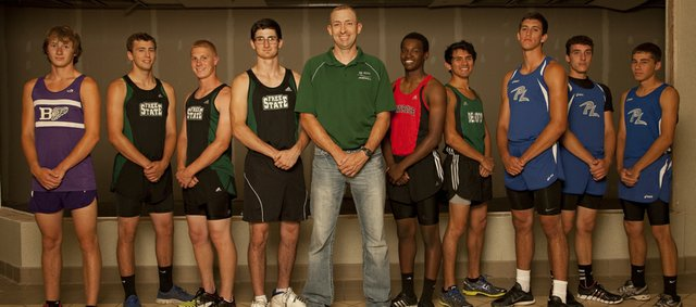The 2013 All-Area Boys Track & Field Team is: Ethan Hartzell, Baldwin; Dan Krieger, Free State; Stan Skwarlo, Free State; Nick Hocking, Free State; Coach of the Year Brian Dinkel, De Soto; Erik Parrish, Lawrence; Angel Vasquez, De Soto; Riley Davis, Perry-Lecompton; Will Hinrichsen, Perry-Lecompton; and Colin Coleman, Perry-Lecompton.