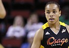 """Tulsa Shock rookie guard Angel Goodrich brings the ball upcourt against the Seattle Storm in a preseason WNBA game, May 17, 2013, in Seattle. Goodrich, a former Kansas University player, says she's """"starting to get into the flow of things,"""" 10 games into her pro career."""