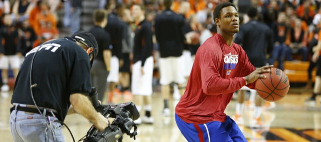 Kansas guard Ben McLemore gets some attention from the ESPN cameras prior to tipoff against Oklahoma State on Wednesday, Feb. 20, 2013 at Gallagher-Iba Arena in Stillwater, Oklahoma.