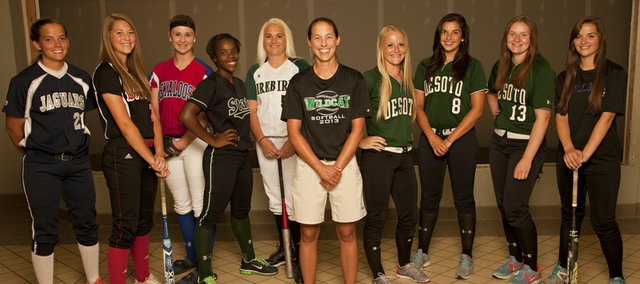 The 2013 Journal-World All-Area Softball, from left, Lexie Myers, Mill Valley; Morgan Byrn, Lawrence; Haidyn Bassett, Oskaloosa; A'Liyah Rogers, Free State; Whitney Rothwell, Free State; Coach of the Year Junelle Woolery, De Soto; Hunter Klamm, De Soto; Sophia Templin, De Soto; Lauren Mabe, De Soto; and Konner Patterson, McLouth. .