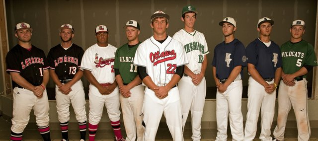 The 2013 All-Area Boys Baseball Team, from left: Shane Willoughby, Lawrence; CJ Stuever, Lawrence; Drew Green, Lawrence; Corbin Clark, De Soto; Kaden Shaffer, Ottawa; Dane McCullough, Free State; Nick Wilson, Mill Valley; LJ Hatch, Mill Valley; Jonny Hodges, De Soto.