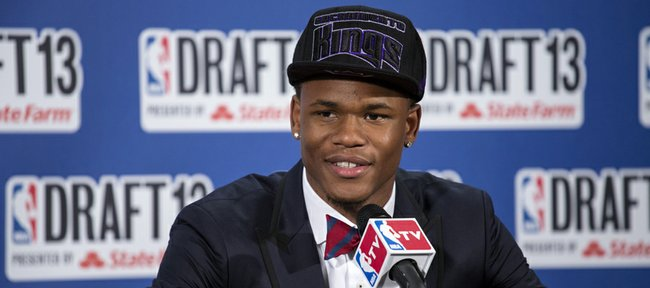Kansas' Ben McLemore, picked by the Sacramento Kings in the first round of the NBA basketball draft, speaks during a news conference Thursday, June 27, 2013, in New York.