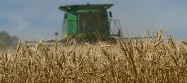 Wednesday's warm temperatures dried some for the area wheat out as Larry Craig and his son, Mike, were starting their harvest in Vinland.