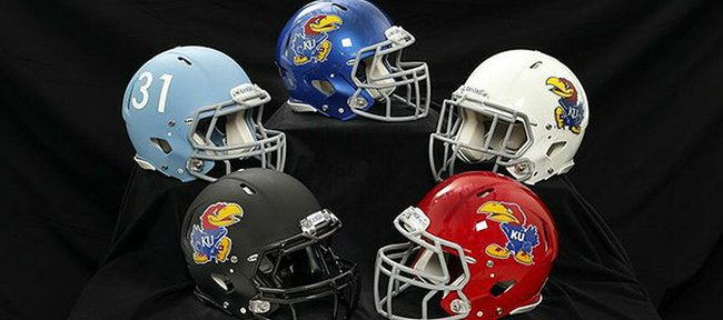 The Kansas University football program on Monday unveiled five new looks for the team's helmets, four of which now feature the Jayhawk on the sides. (Photo courtesy of KU Athletics)