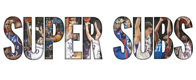 The top bench players in the Bill Self era at Kansas University, as recalled by the Journal-World and KUsports.com staffs, top row, from left: Darnell Jackson, Thomas Robinson, Jeff Hawkins, Julian Wright and Conner Teahan. Bottom row, from left: Sherron Collins, Sasha Kaun, Markieff Morris and Darrell Arthur.