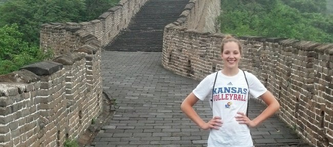 Kansas University junior outside hitter Sara McClinton poses on the Great Wall of China during her recent trip with a USA Developmental team to China.