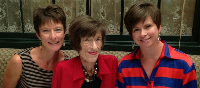 Barbara Werbe Meek, a 1960 Kansas University graduate, is pictured with her daughters, Sheryl Lee (left) and Mindy Piontek, in this photo provided by the KU Endowment Association.