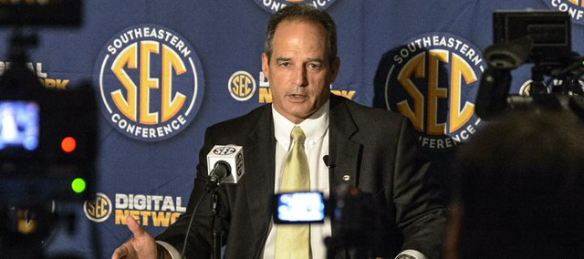 Missouri coach Gary Pinkel talks with reporters during the SEC football Media Days in Hoover, Ala., Tuesday, July 16, 2013.